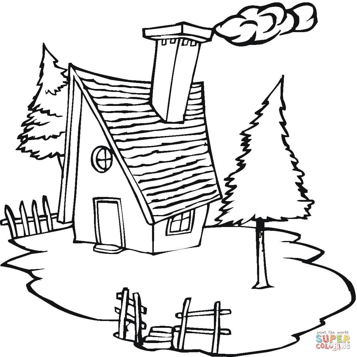 1200x1200 Cottage In The Village Coloring Page Free Printable Coloring Pages