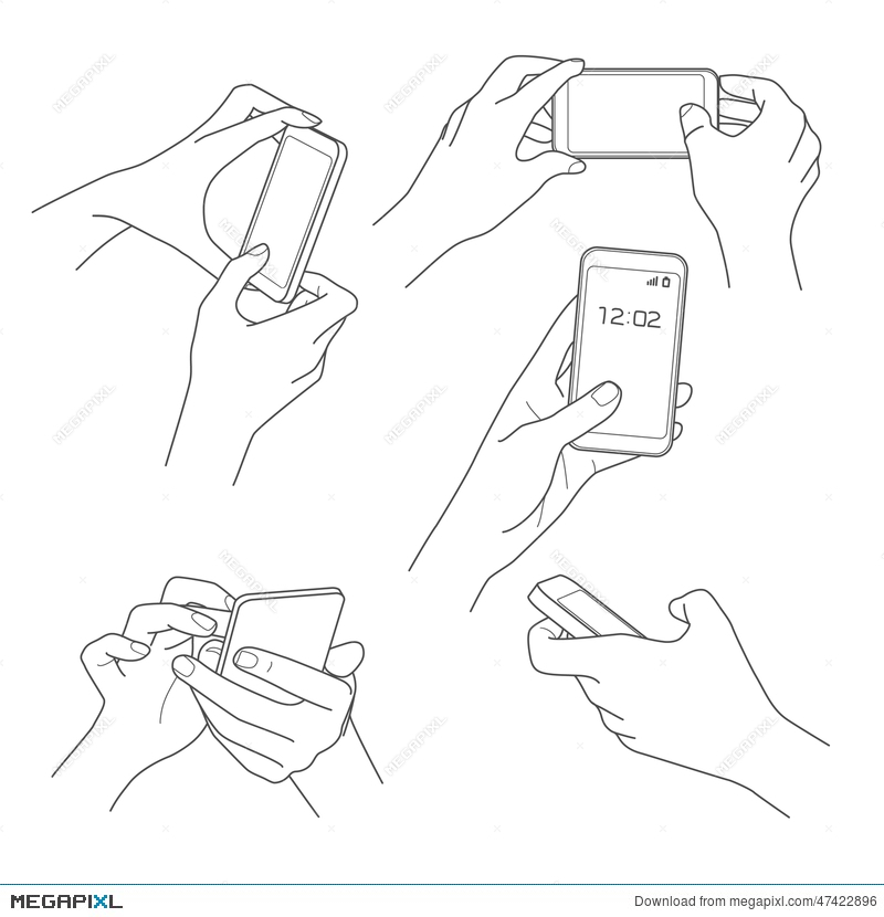800x830 Hand Holding Smartphone Sketch Vector Illustration 47422896