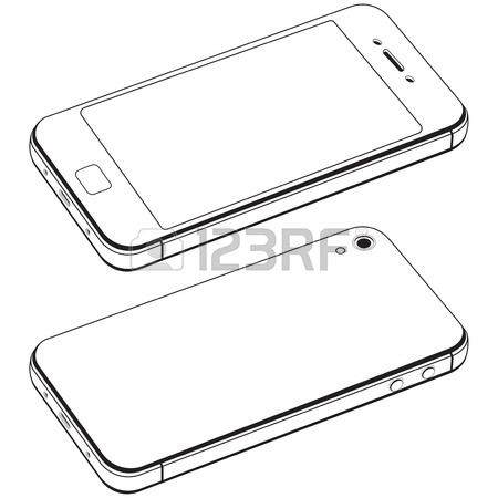 450x450 Modern Smart Phone Isolation Vector. Black And White Drawing
