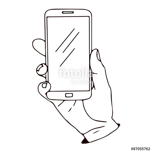 500x500 Smartphone In Hand. Vector Illustration, Icon, Element For Design