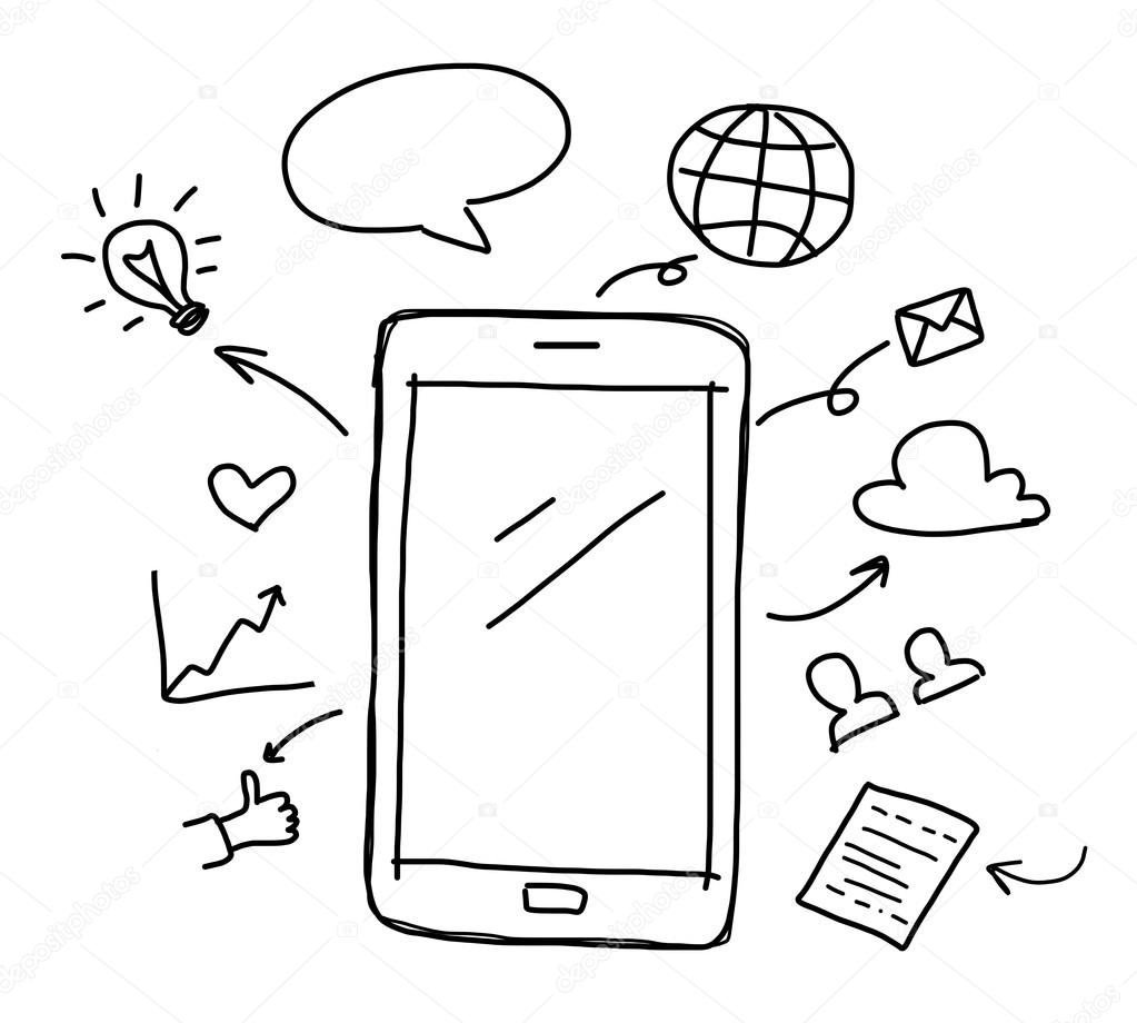1023x920 Hand Drawing Smart Phone With Social Media Concept Stock Photo