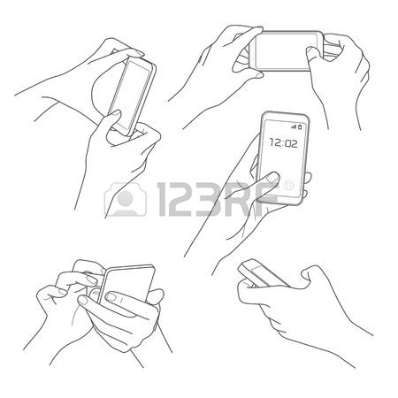 450x450 Hand Holding Smartphone Communication Sketch Vector Illustration