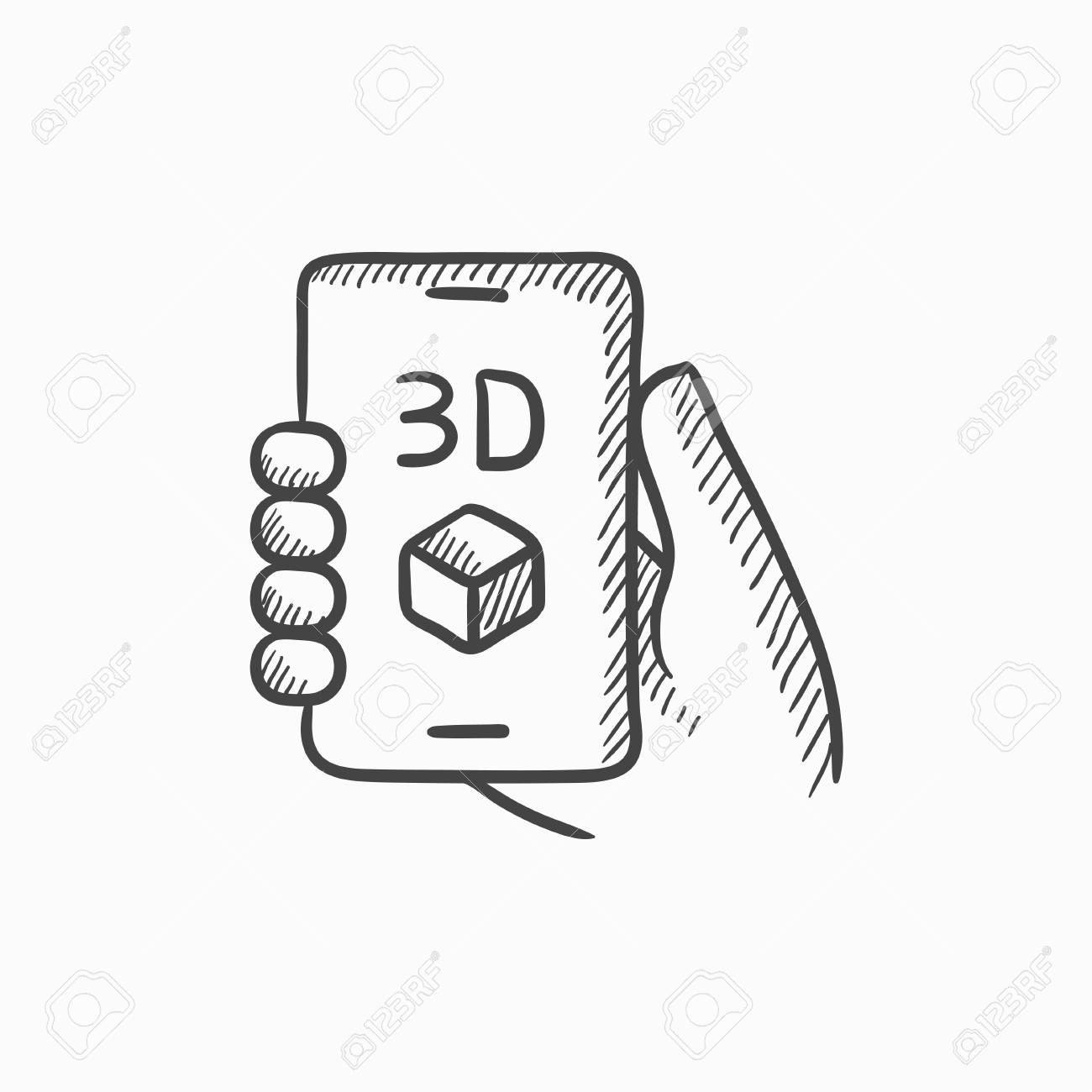 1300x1300 Smartphone With Three D Box Vector Sketch Icon Isolated