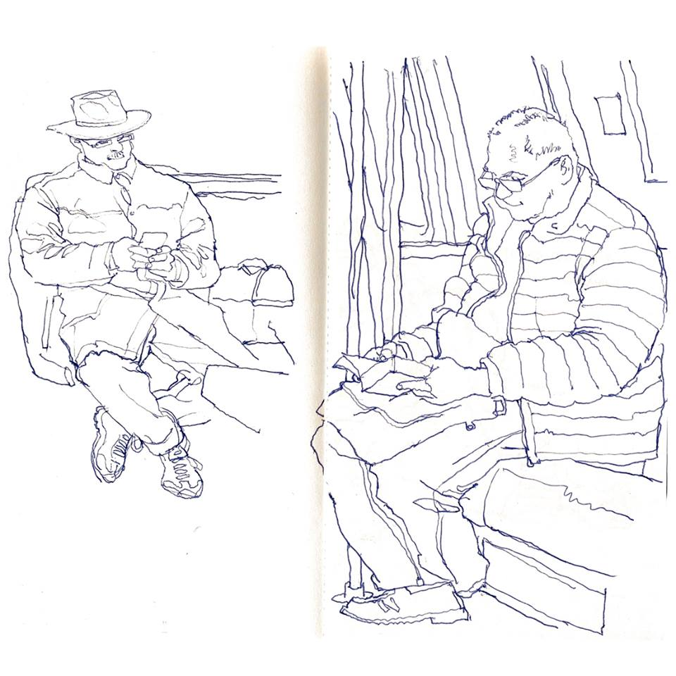 960x960 Subway Sketch Of An Old Fellow Reading Some Kind Of Paper Device