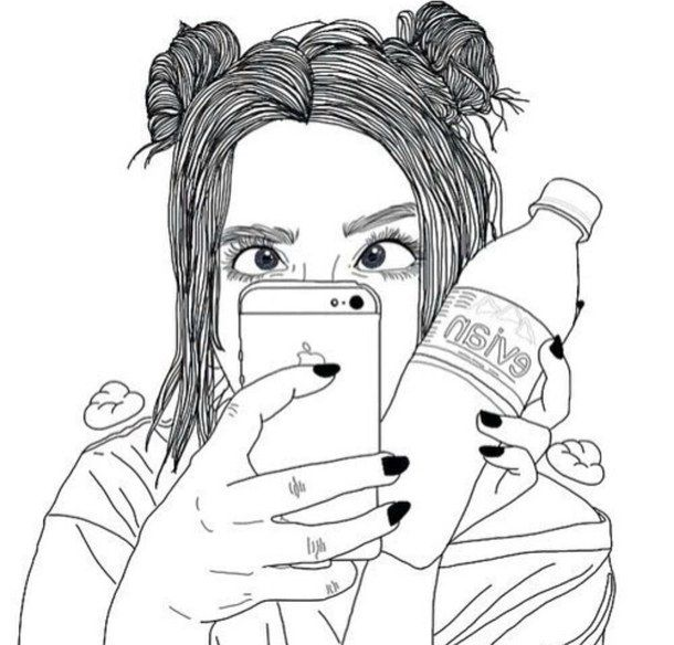 610x584 Black Amd White, Follow, Girl, Outline, Outlines, Smartphone