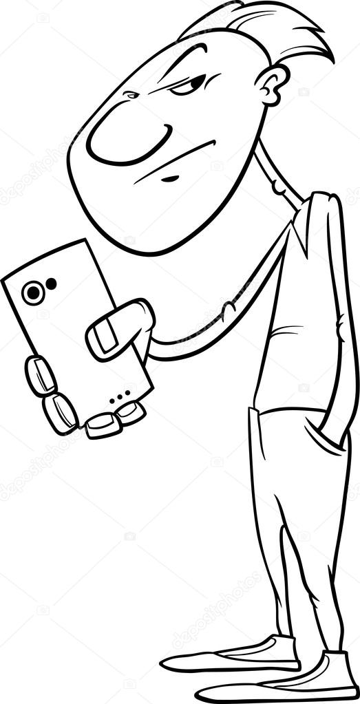 523x1023 Shooting With Smartphone Coloring Page Stock Vector Izakowski