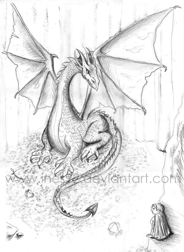 how to draw smaug the dragon step by step