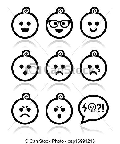 390x470 Baby Boy Faces, Avatar Vector Icons. Collection Of Child Vector