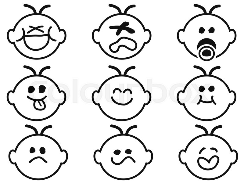 800x600 cute emoticon drawing a smiling face stock vector colourbox