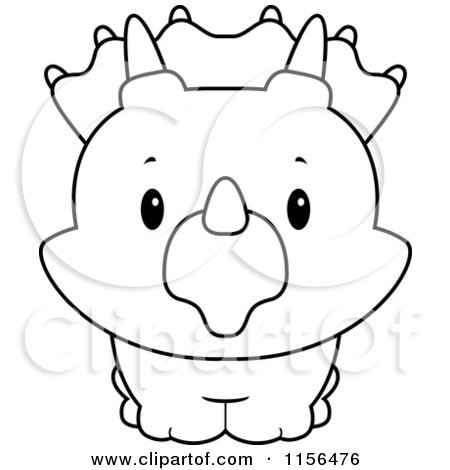 450x470 Cartoon Clipart Of A Black And White Baby Triceratops Smiling