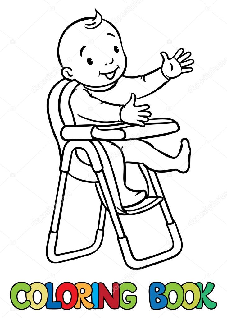 731x1023 Funny Smiling Baby In The Highchair Stock Vector Passengerz