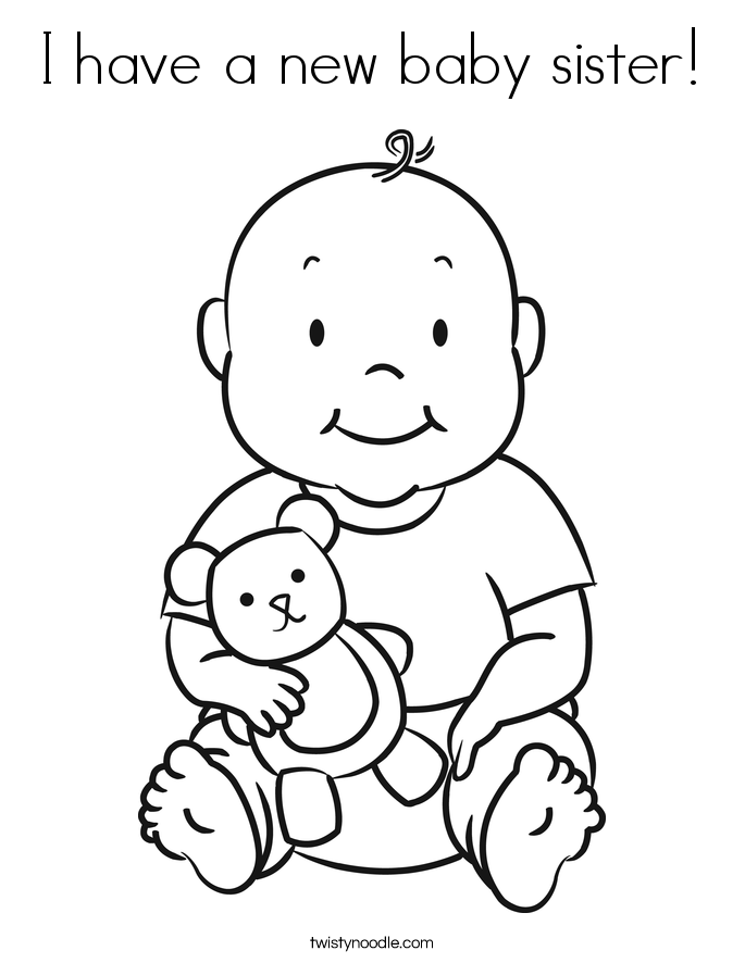 685x886 I Have A New Baby Sister Coloring Page