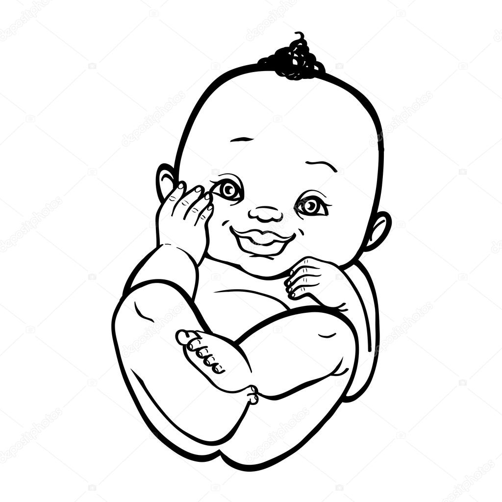 1024x1024 Newborn Little African Baby Smiling. Vector Illustration Islated