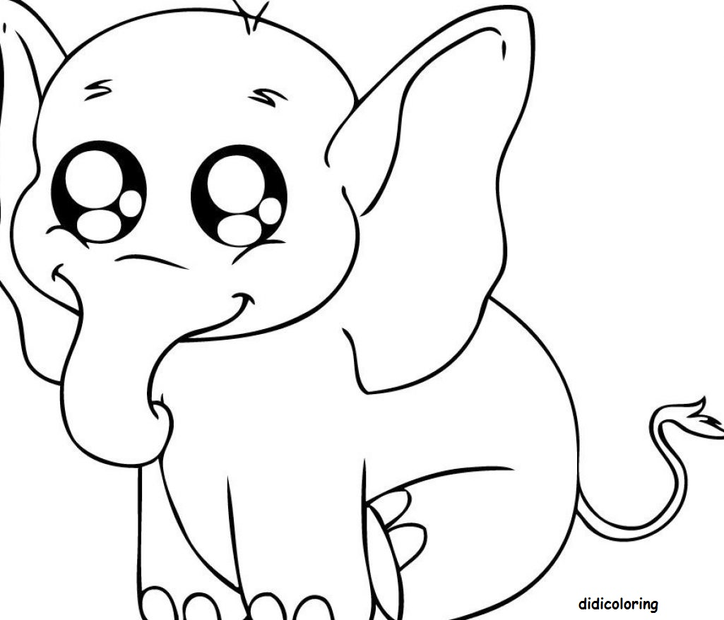 1025x878 Printable Baby Elephant Smiling For Kids Coloring