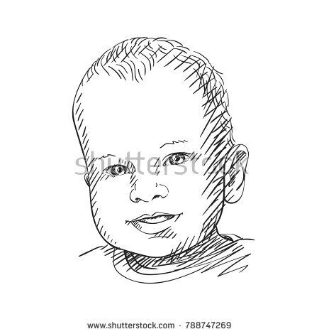 450x470 Sketch Of Cute Baby Head Smiling, Hand Drawn Vector Illustration