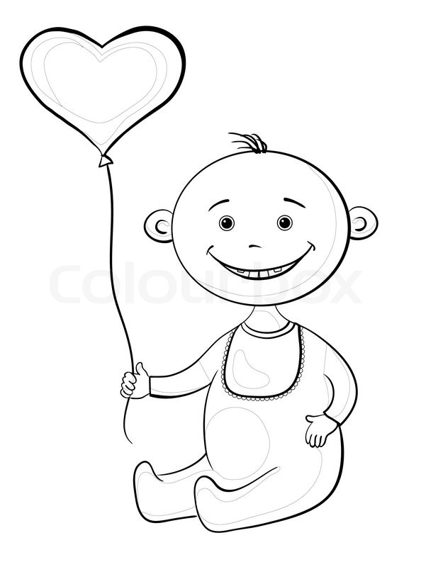 594x800 Smiling Child Sits With A Heart Shaped Valentine Balloon, Contours