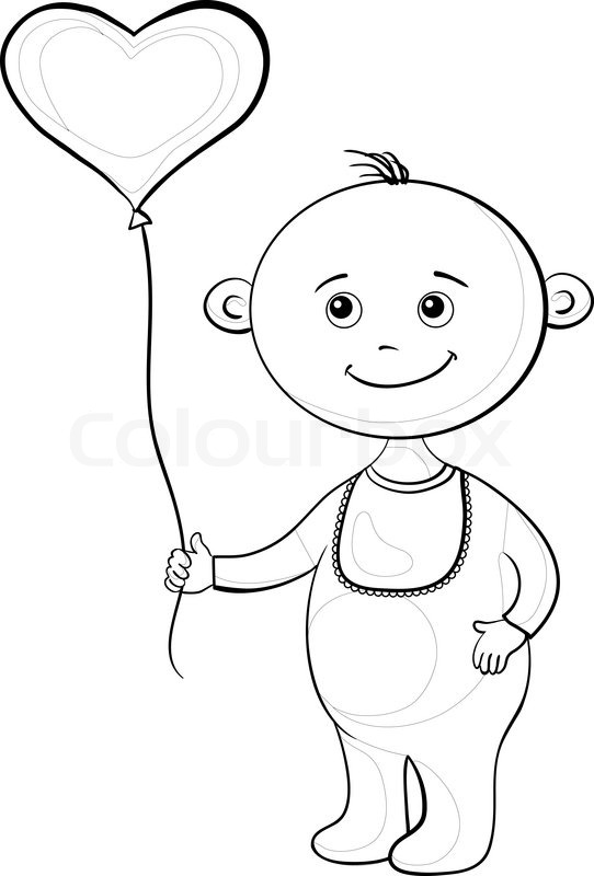 542x800 Smiling Child With A Heart Shaped Valentine Balloon, Contours