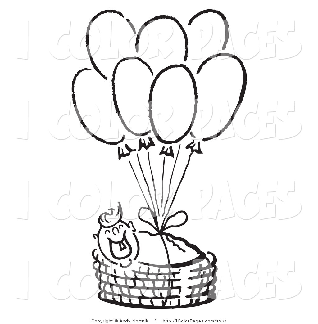 1024x1044 Vector Coloring Page Of A Smiling Baby In A Basket, Floating