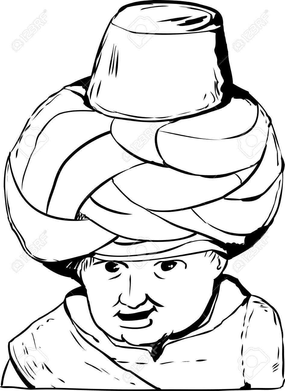 946x1300 Sketch Outline Close Up On Smiling Face Of 18th Century Arab