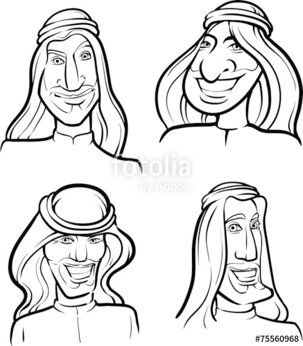 437x500 Line Drawing Of Arab Men Smiling Faces Stock Image And Royalty