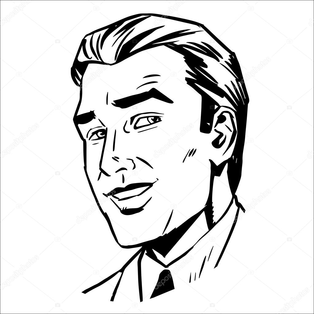 1024x1024 Man Face Smiling Sketch Graphics Stock Vector Studiostoks