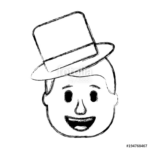 500x500 Smiling Face Man With Hat Happy Vector Illustration Sketch Design