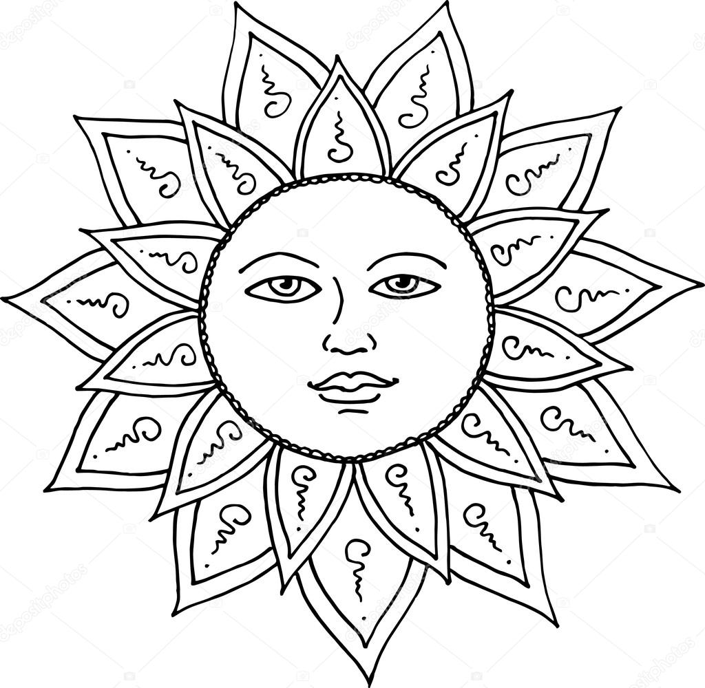 1024x1000 Black Contour Drawing Of The Sun With Smiling Face. Vector