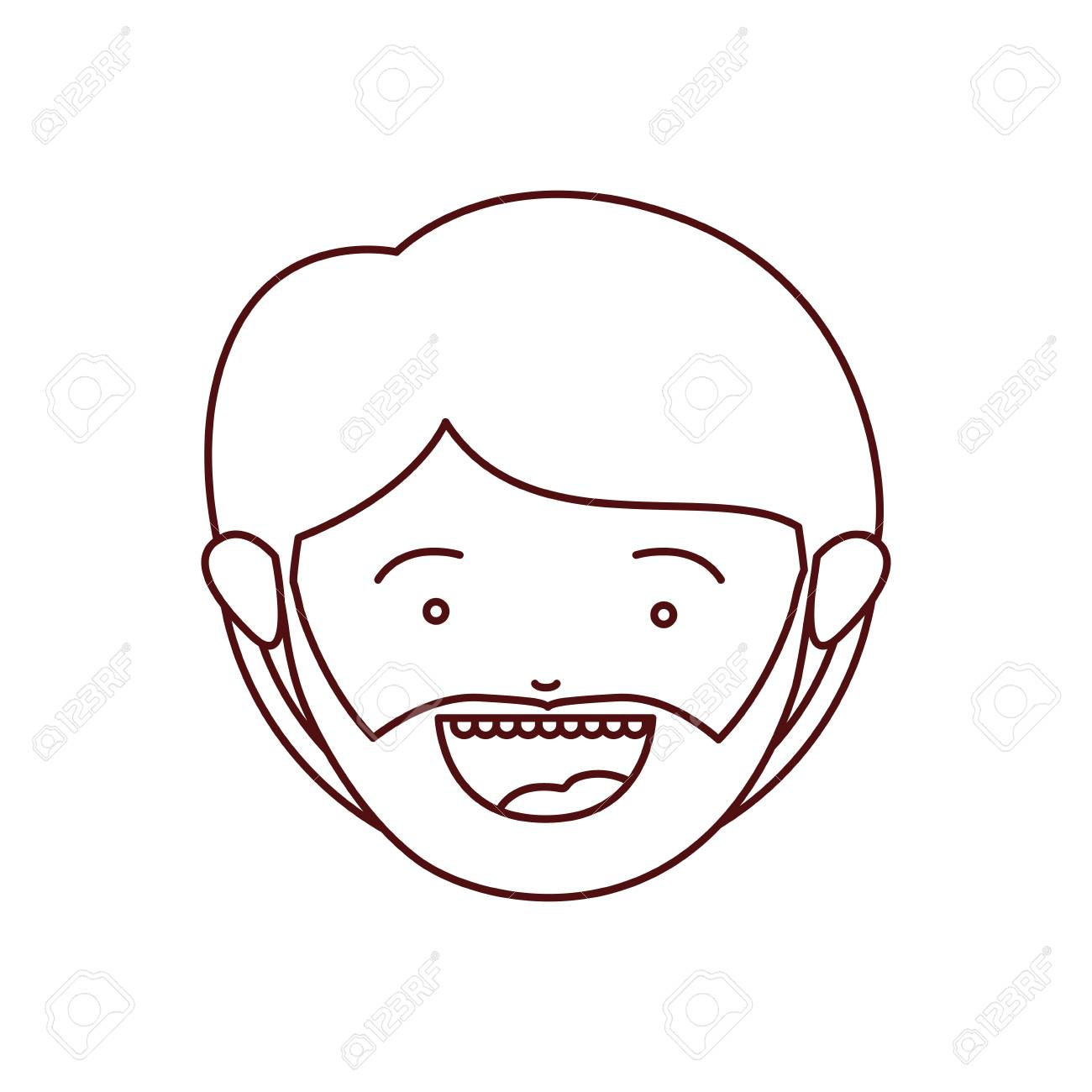 1300x1300 Brown Color Contour Of Smiling Face Of Man With Beard And Mustache