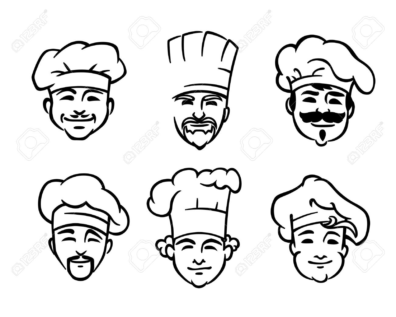 1300x1041 Set Of Six Different Black And White Doodle Sketch Chef Or Cooks