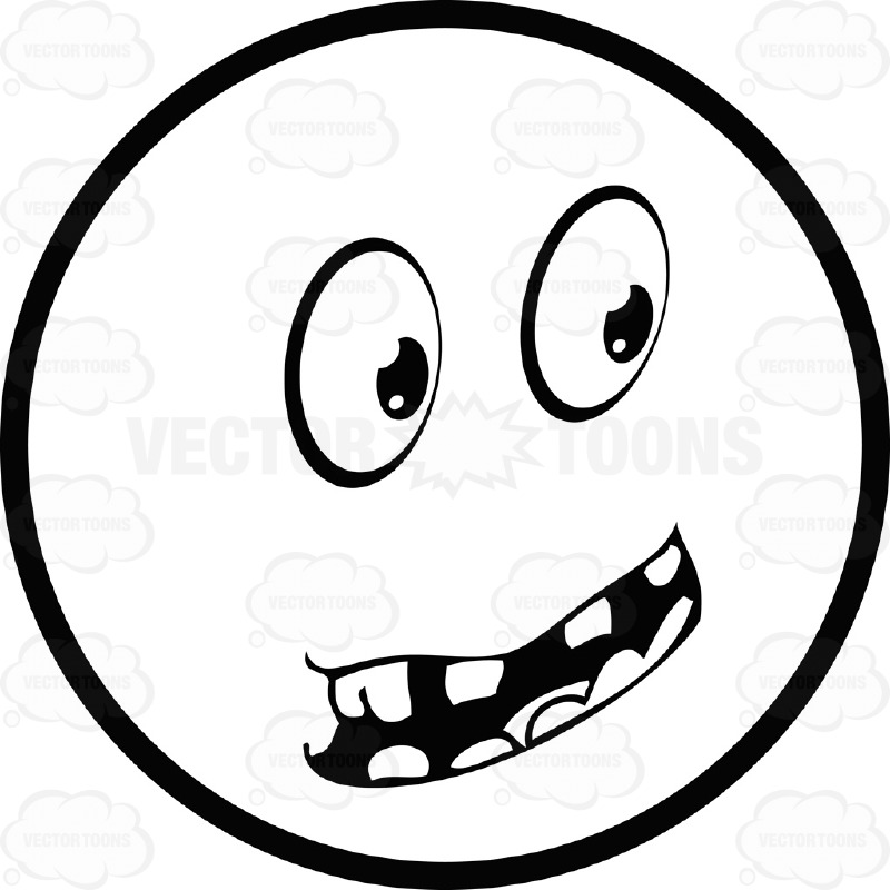 800x800 Large Eyed Black And White Smiley Face Emoticon Serious, With