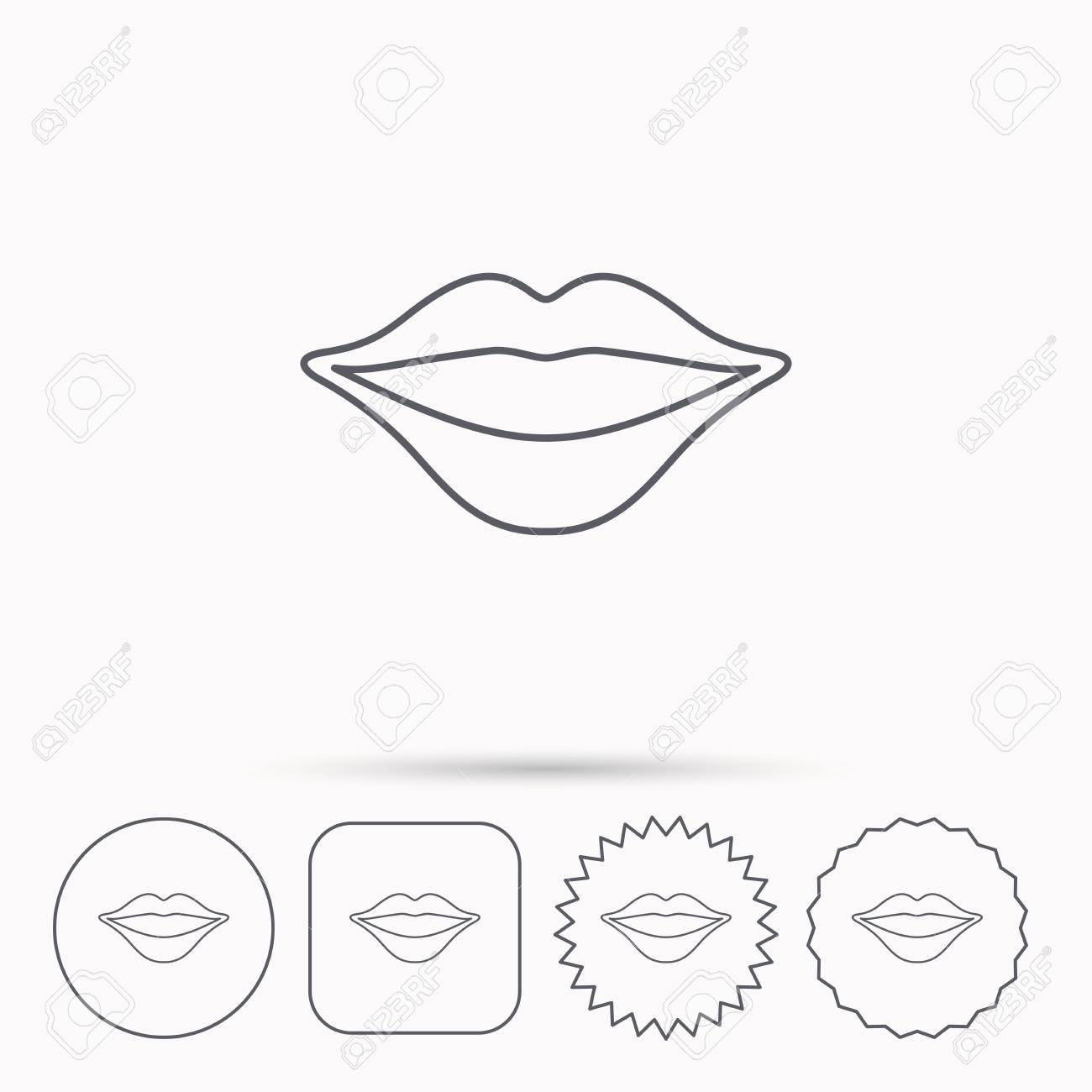 1300x1300 Lips Icon. Smiling Mouth Sign. Linear Circle, Square And Star