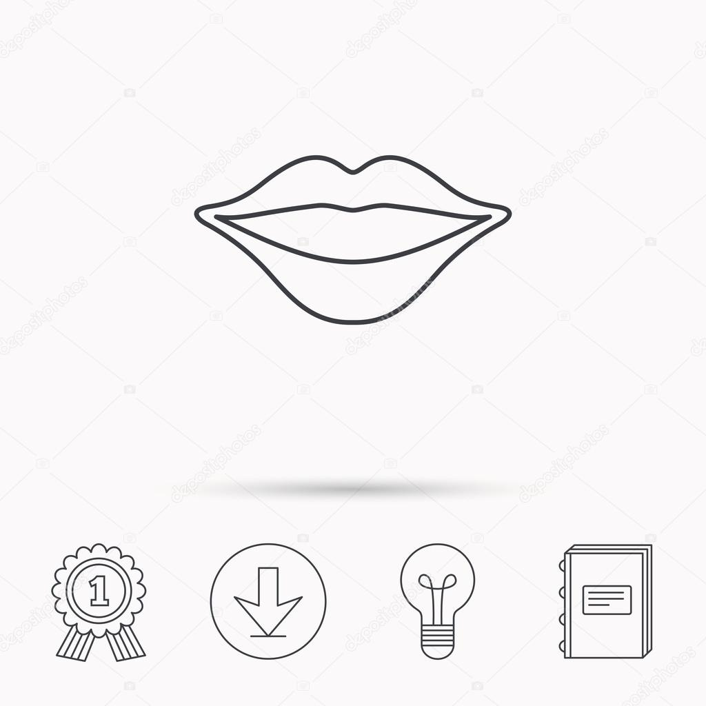 1024x1024 Lips Icon. Smiling Mouth Sign. Stock Vector Tanyastock