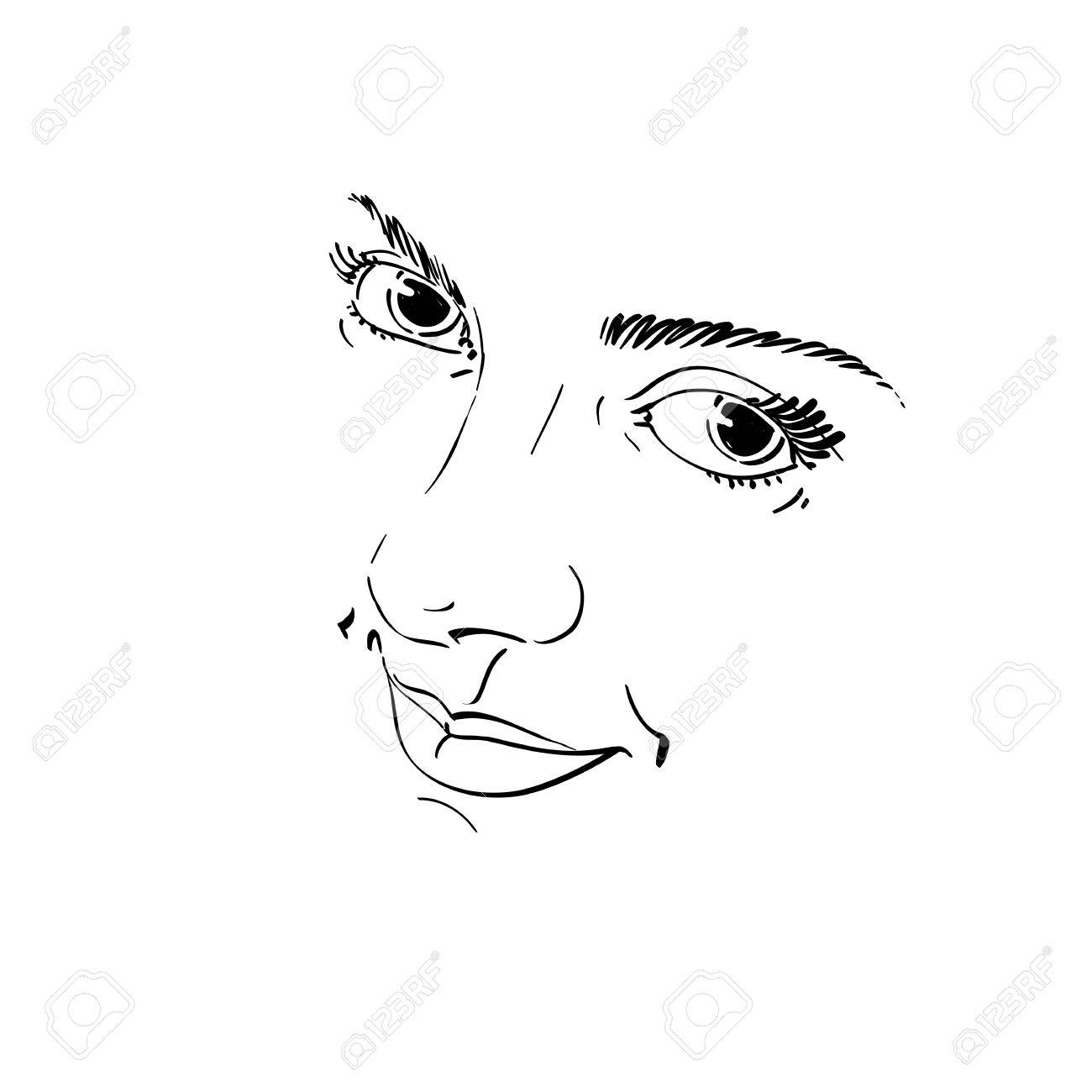 1300x1300 Monochrome Silhouette Of Smiling Attractive Lady, Face Features
