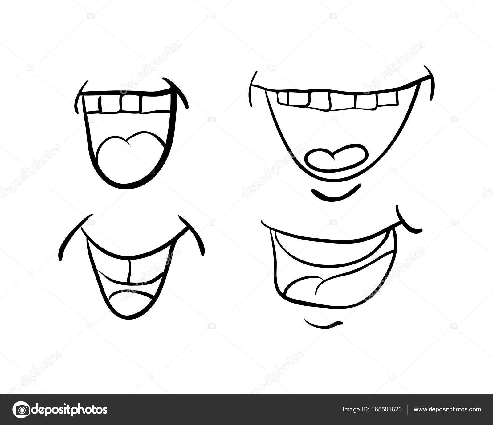 1600x1382 cartoon mouth with tongue and teeth set vector symbol icon desig
