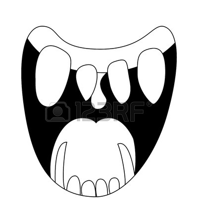 400x450 Cartoon Smile, Mouth, Lips With Teeth And Tongue. Vector