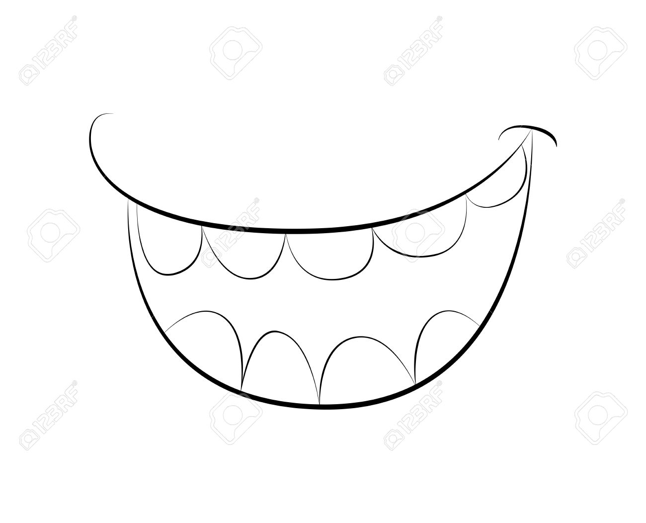 1300x1052 Cartoon Smile, Mouth, Lips With Teeth. Vector Silhouette, Outline