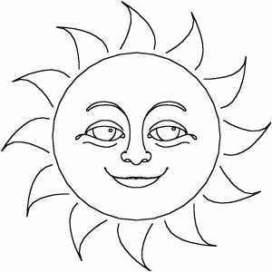 300x300 Smiling Sun Coloring Page