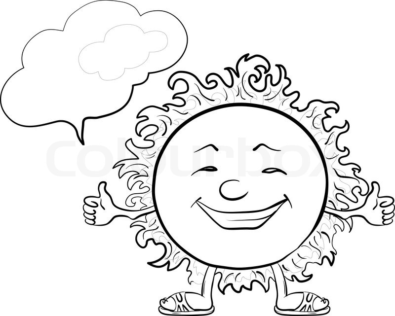 800x641 Smiling Sun With A Cloud For Your Text, Contours Stock Vector