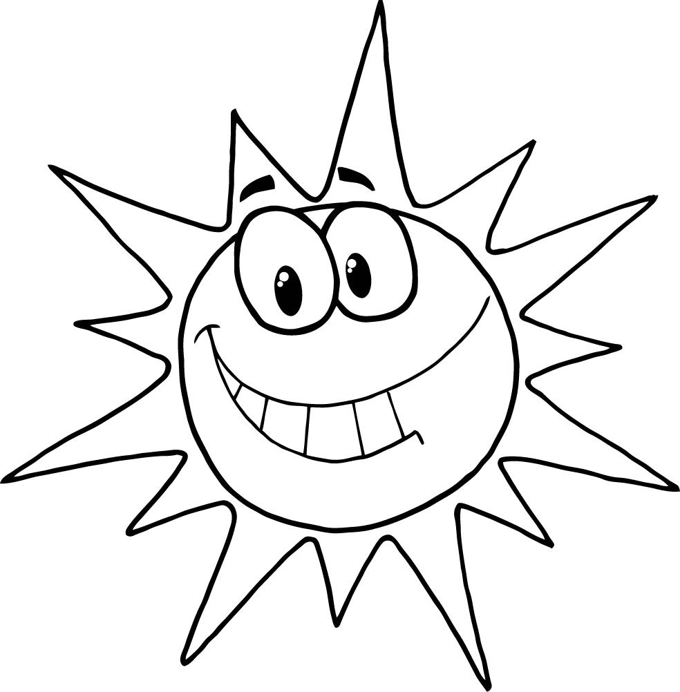 984x1002 Coloring Page Of Cartoon Character Smiling Sun