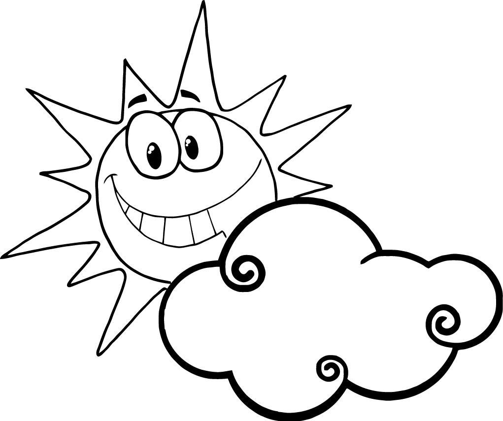 1021x855 Smiling Sun Behind The Cloud Coloring Sheet