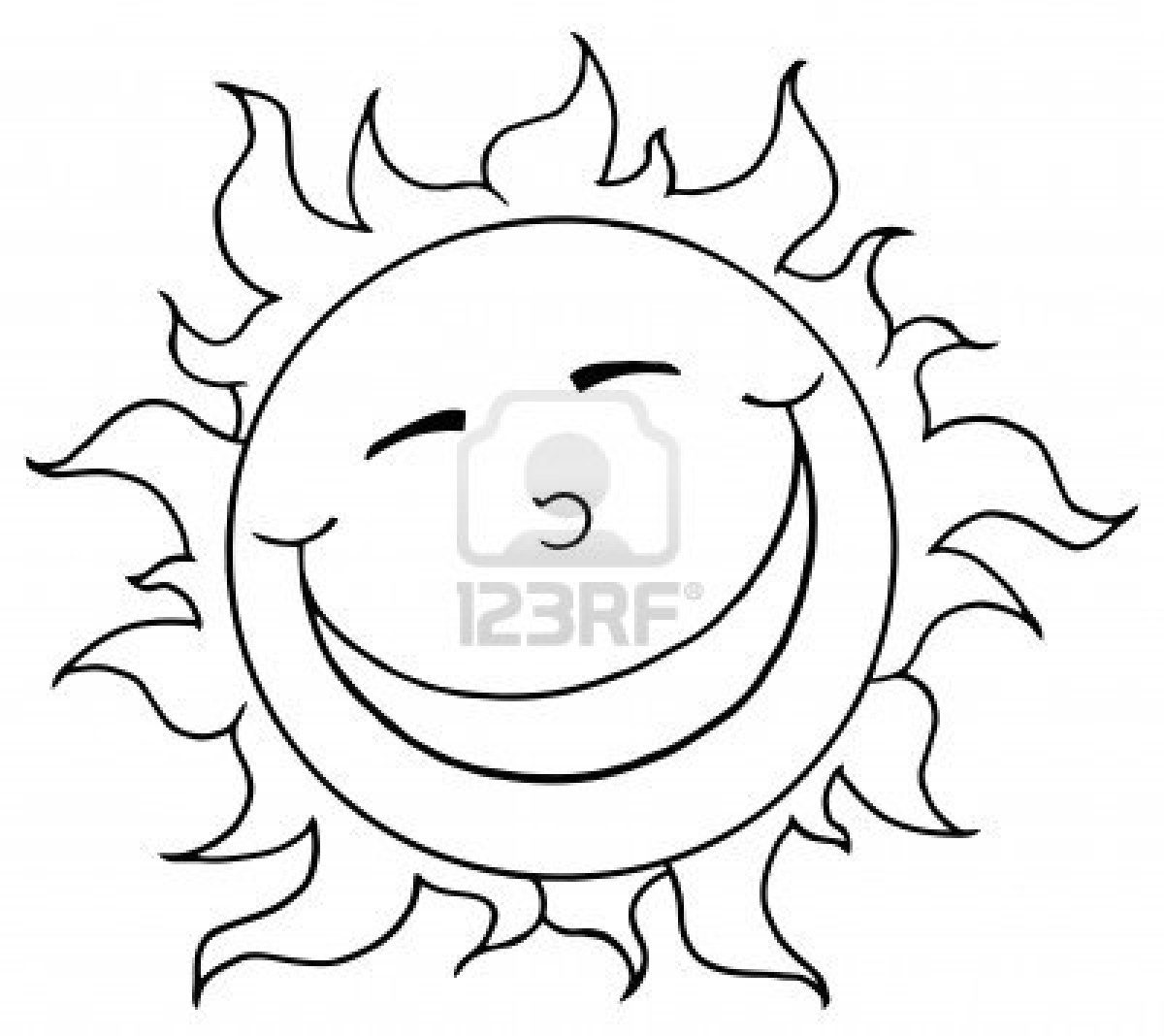1200x1068 Outlined Smiling Sun Mascot Cartoon Character Stock Photo