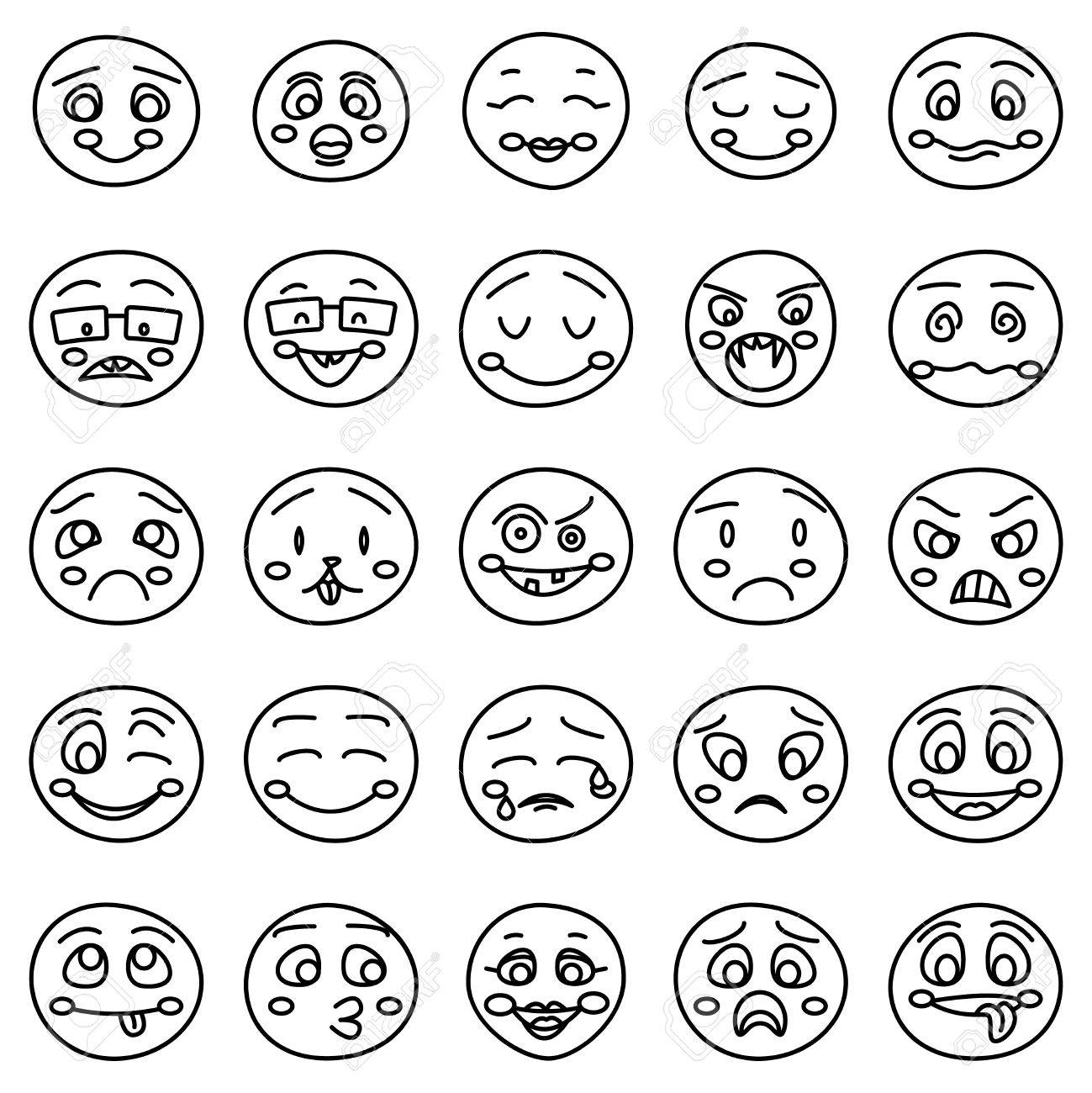 1299x1300 Hand Drawing Of Emoticons Or Vector Doodle Emotional Faces. Set