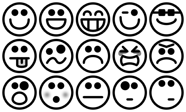 600x363 Outline Smiley Icons Clip Art