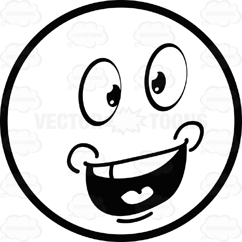 800x800 Talking Large Eyed Black And White Smiley Face Emoticon