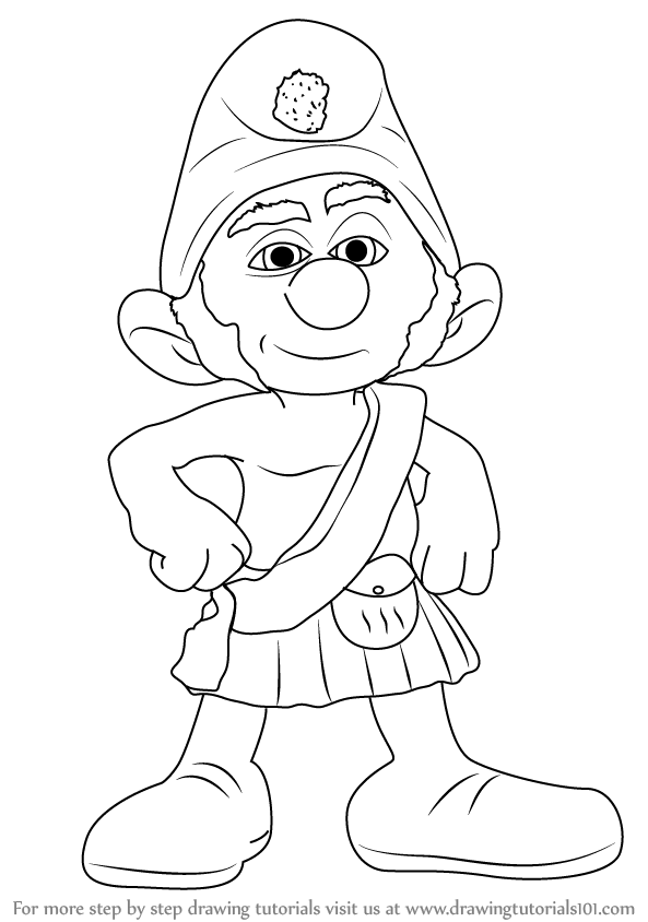593x844 Learn How To Draw Gutsy Smurf From The Smurfs (The Smurfs) Step By