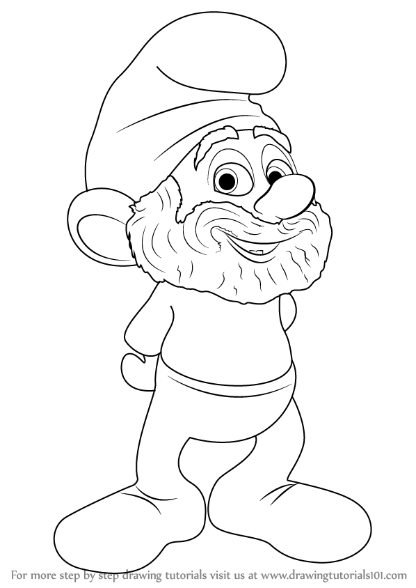 598x844 Learn How To Draw Papa Smurf From The Smurfs (The Smurfs) Step By