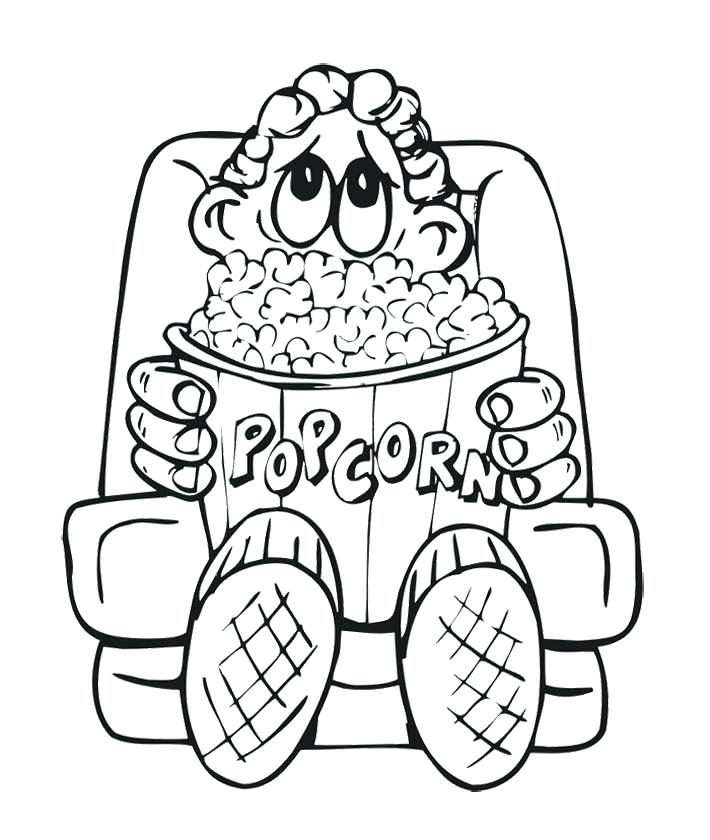 710x840 Elegant Popcorn Kernel Coloring Page Image Home Pages Day Snacks