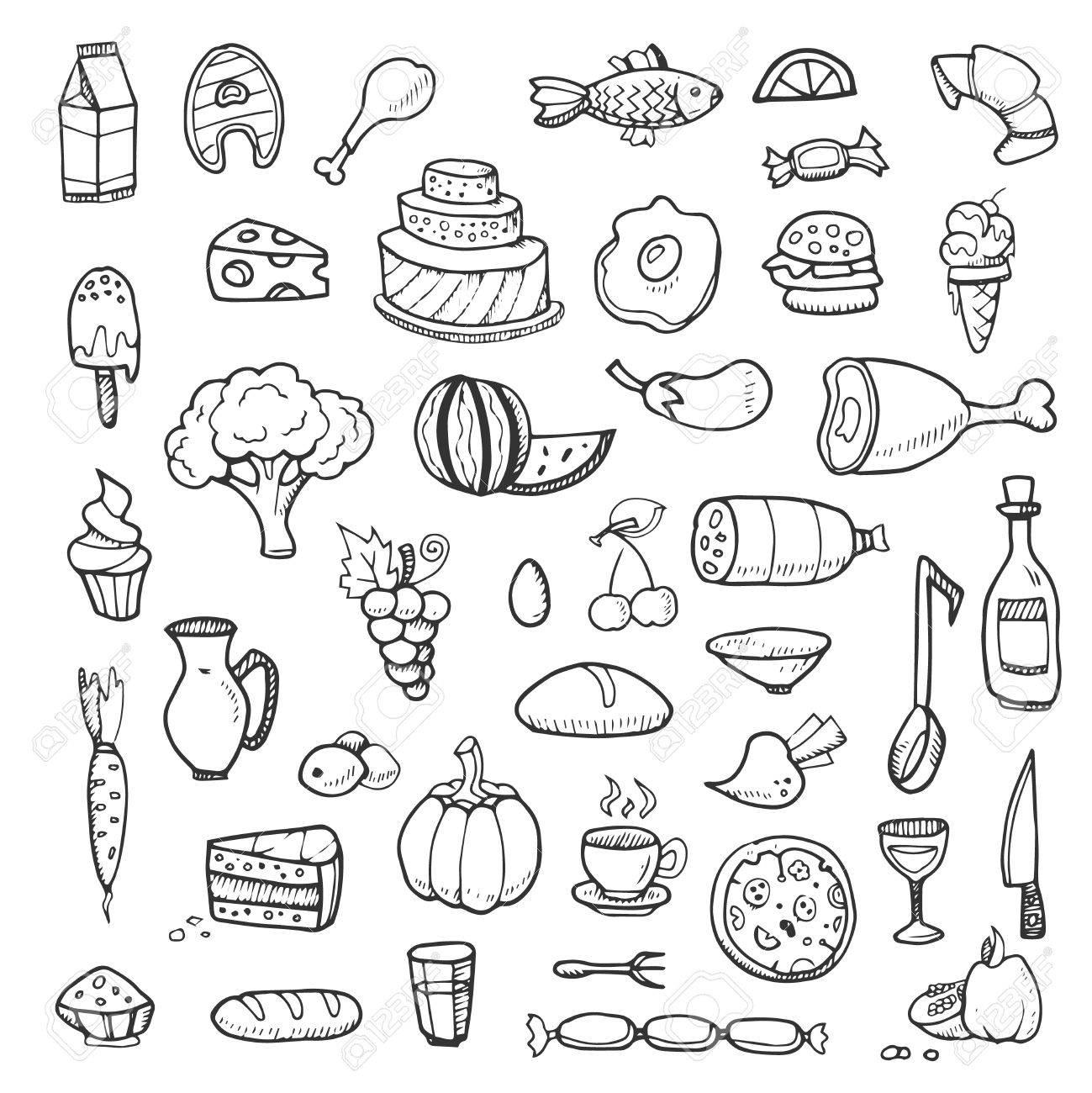1299x1300 Food, Vegetables, Drinks, Snacks, Fast Food Doodle Sketch Hand