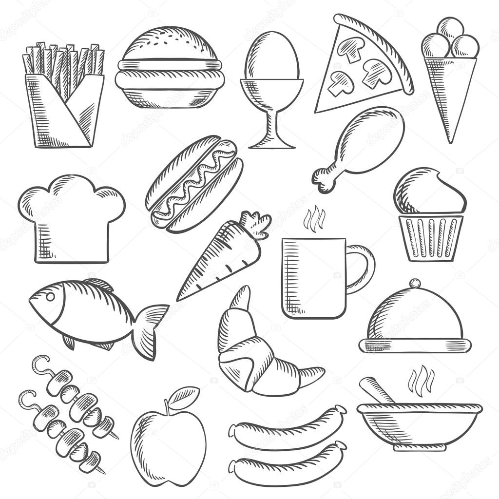 1024x1024 Food And Snacks Sketch Icons Stock Vector Seamartini