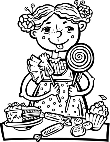 373x480 Girl Eating A Lot Of Candy And Snacks Coloring Page Free